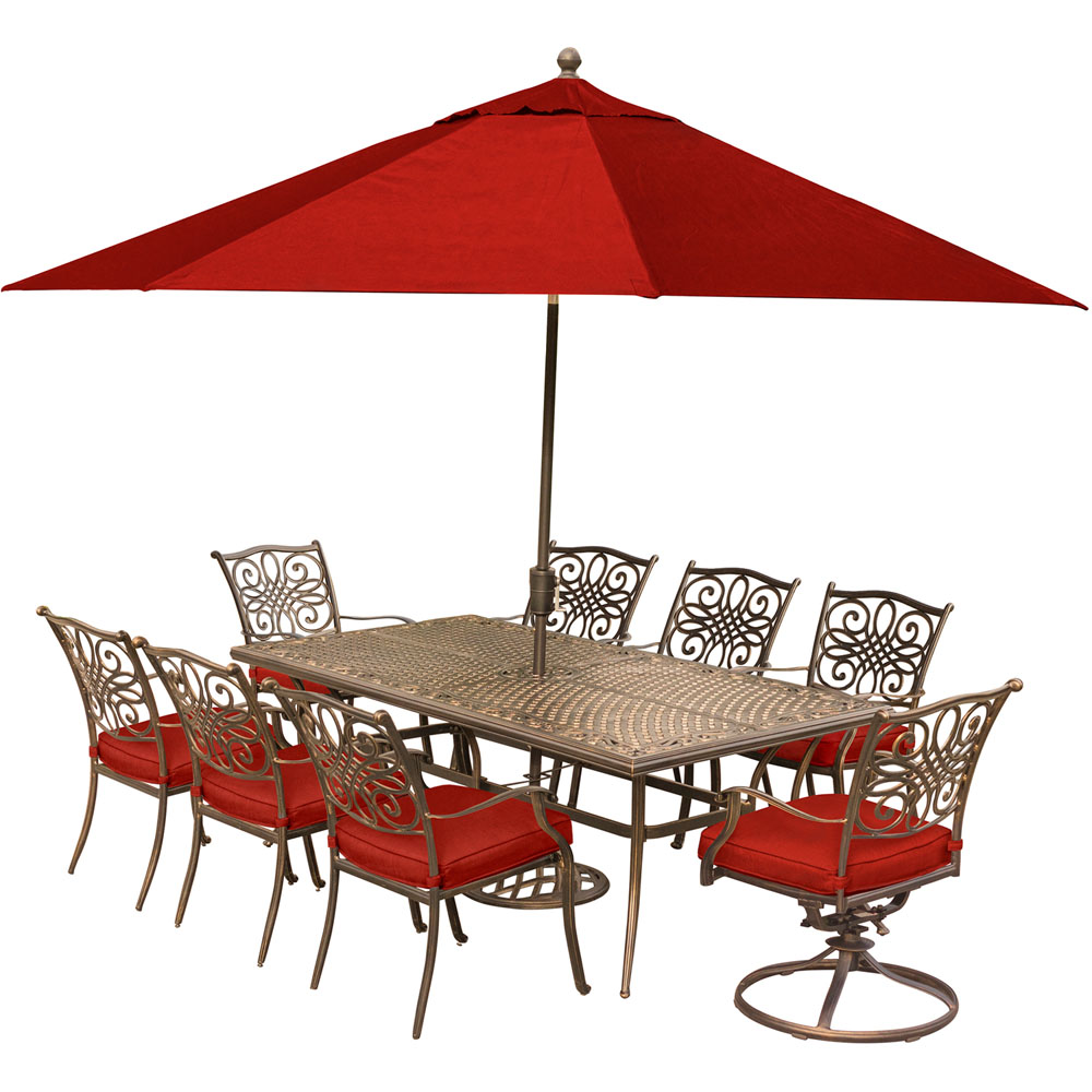 Traditions 9PC Dining:6 Chrs,2 Swvl Chrs,42x84 Cast Tbl, Umbrella, Stand
