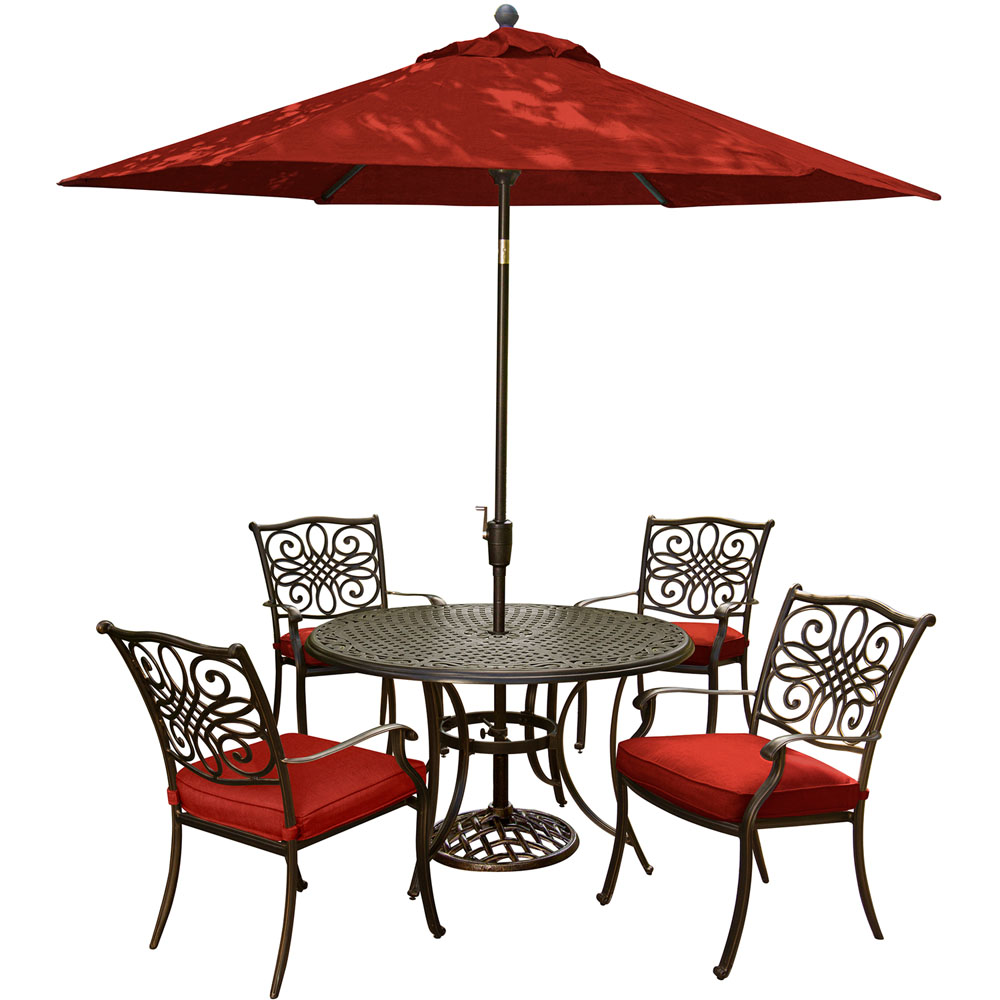 "Traditions5pc: 4 Dining Chairs, 48"" Round Cast Table, Umbrella, Base"