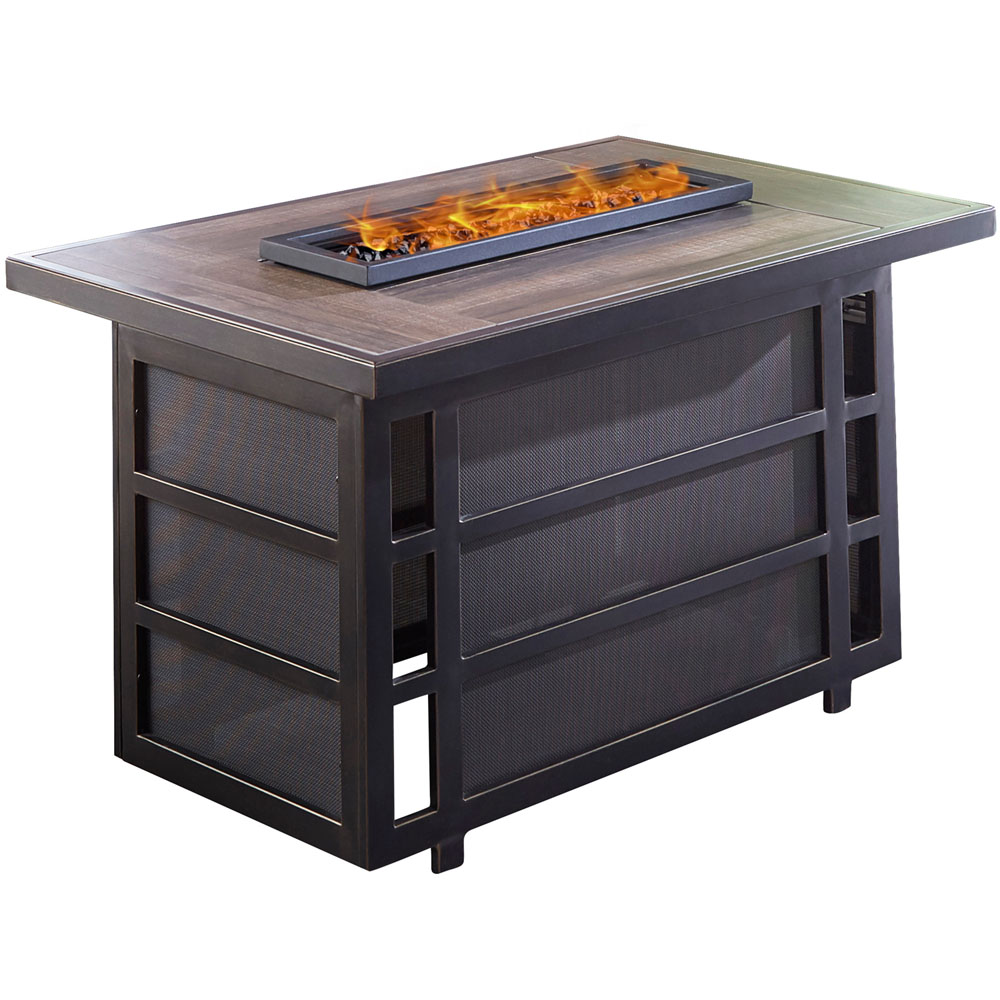 Chateau Rectangle KD Fire Pit: Sling/Aluminum Base with Drop-in-Tile Top