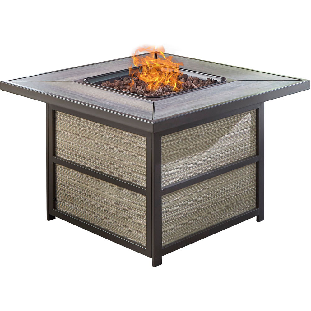 Chateau Square KD Fire Pit: Sling/Aluminum Base with Drop-in-tile Top