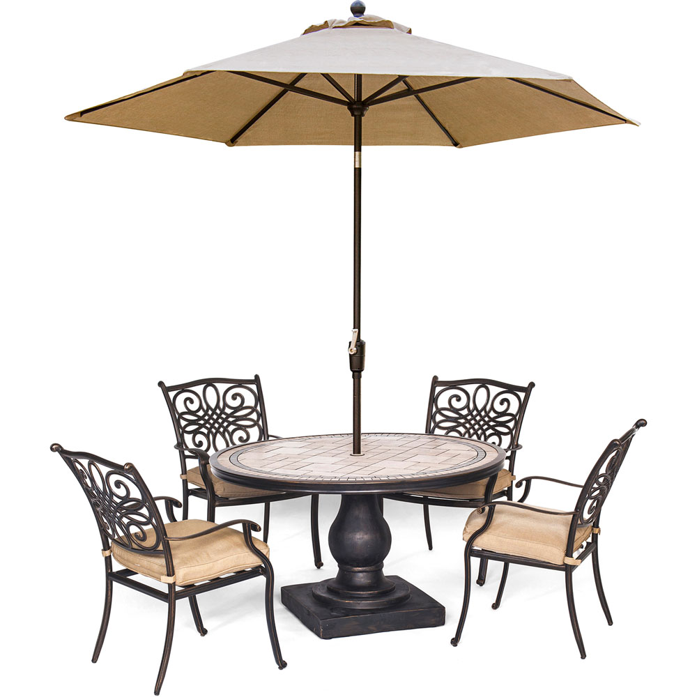 "Monaco5pc: 4 Cush Dining Chairs, 51"" Round Tile Top Table, Umbrella"
