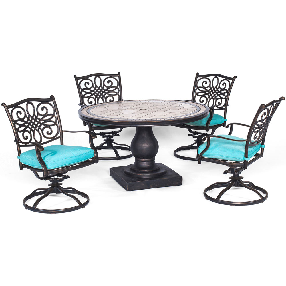"Monaco5pc: 4 Cush Sling Swivel Rockers, 51"" Round Tile Top Table"