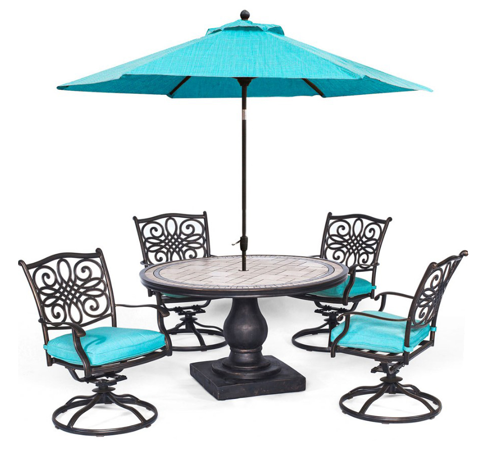 "Monaco5pc: 4 Cush Swivel Rockers, 51"" Round Tile Top Table, Umbrella"