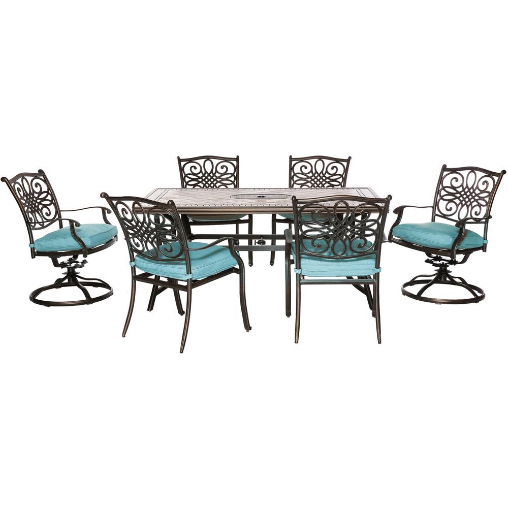 "Monaco7pc: 4 Cush Dining Chairs, 2 Cush Swvl Chairs, 40x68"" Tile Top Tbl"