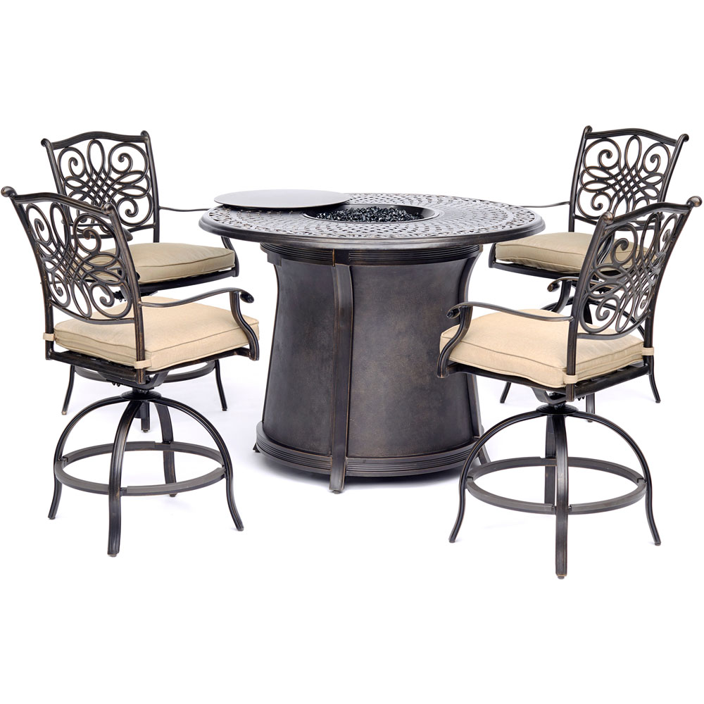 "5pc High Fire Pit Set: 4 Swivel Chairs, 48"" Round Cast Top Fire Pit Table"