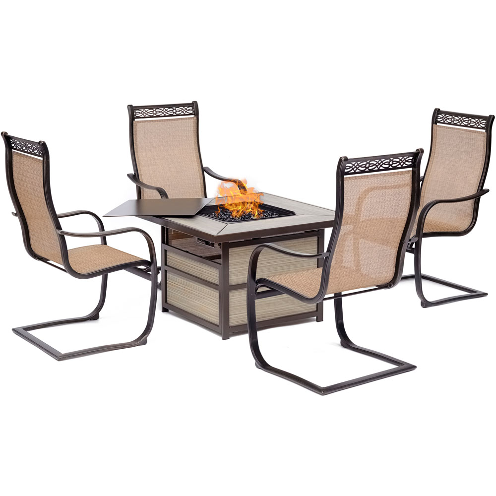 Monaco5pc Fire Pit: 4 Sling Spring Chairs, Square KD Fire Pit w/Tile