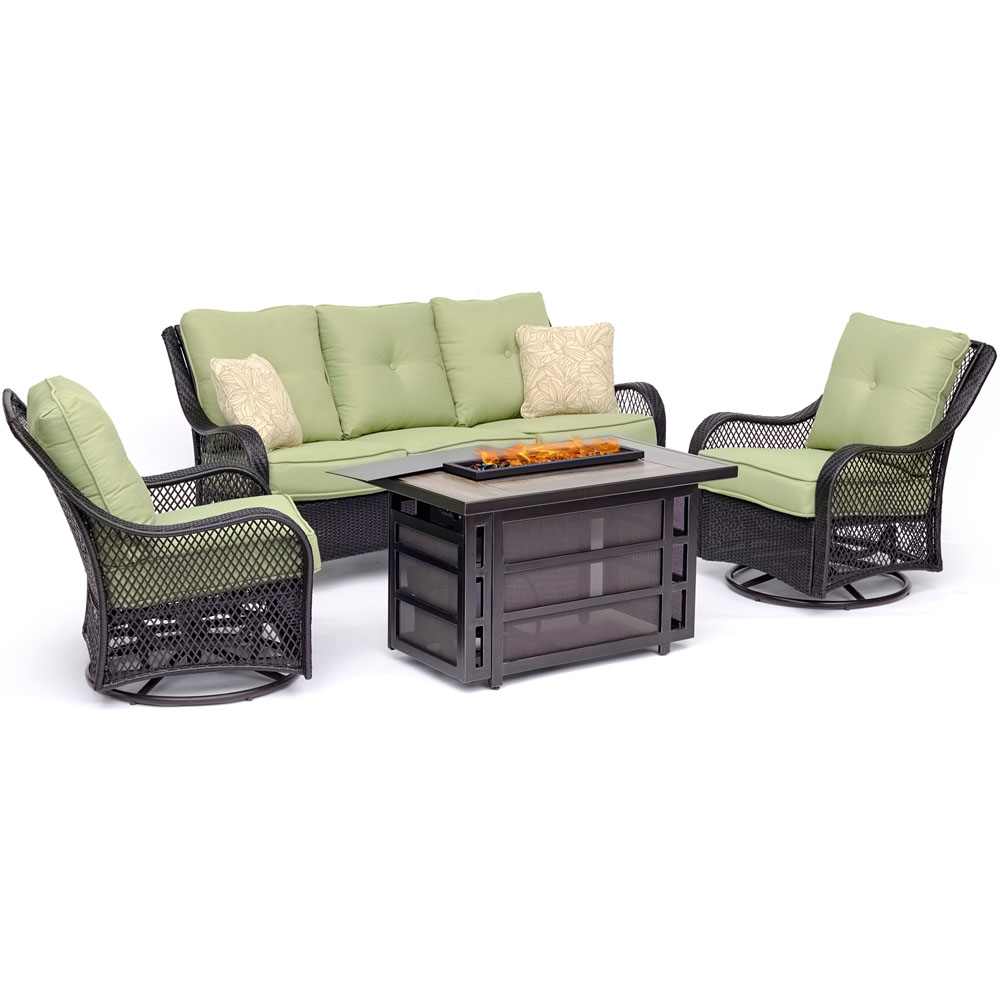 Orleans4pc Fire Pit: 2 Swivel Gliders, Sofa, Rectangle KD Fire Pit w/Tile