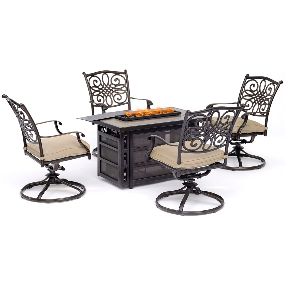 Traditions5pc Fire Pit: 4 Swivel Rockers, Rectngl KD Fire Pit w/Tile