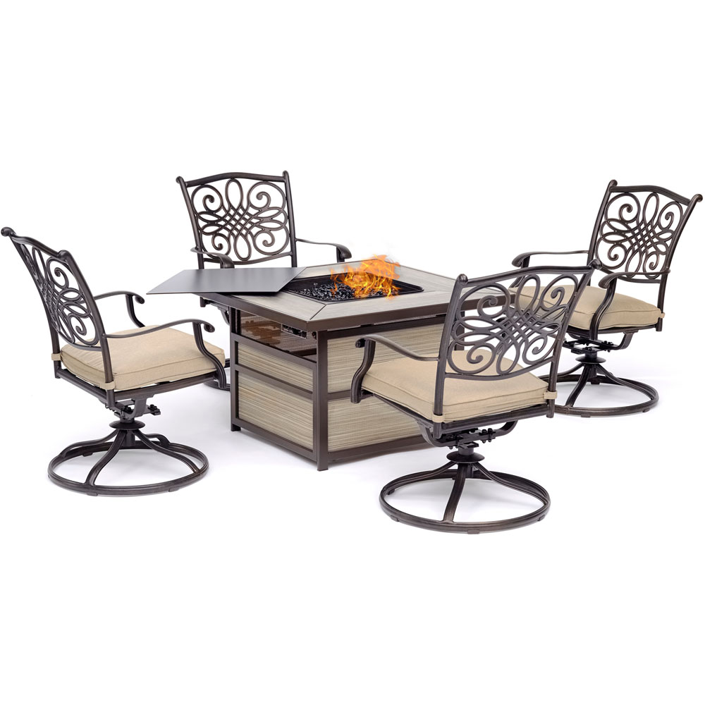 Traditions5pc Fire Pit: 4 Swivel Rockers, Square KD Fire Pit w/Tile