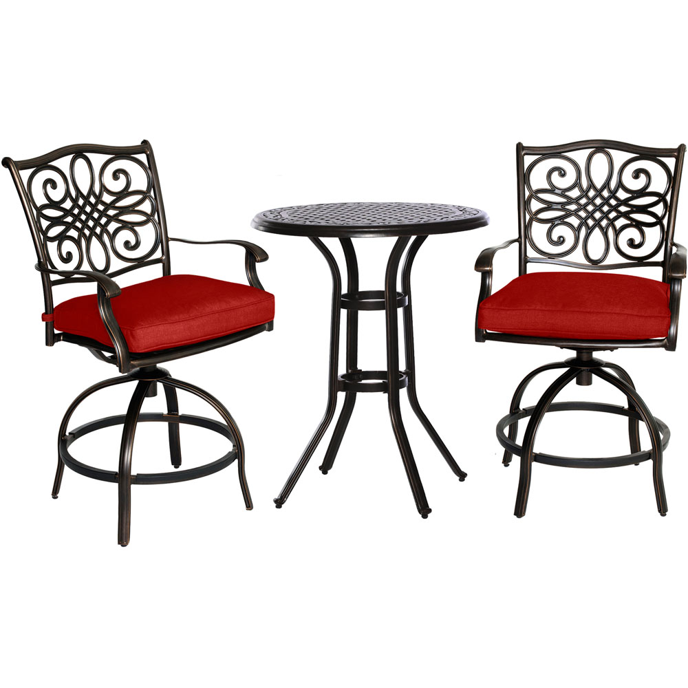 """Traditions3pc: 2 Counter Height Swivel Chairs, 30"""" Round Cast Tbl (36""""H)"""