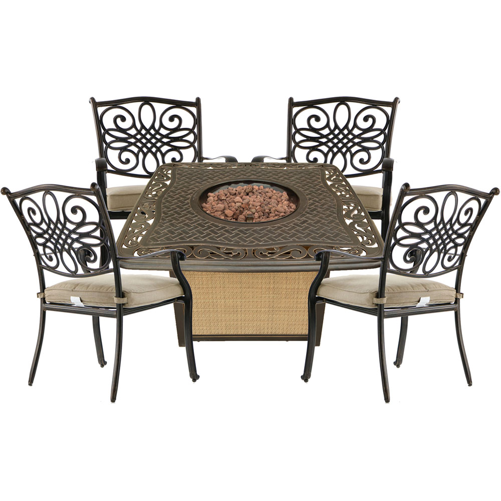 Traditions5pc Fire Pit: 4 Dining Chairs and Cast Top Fire Pit