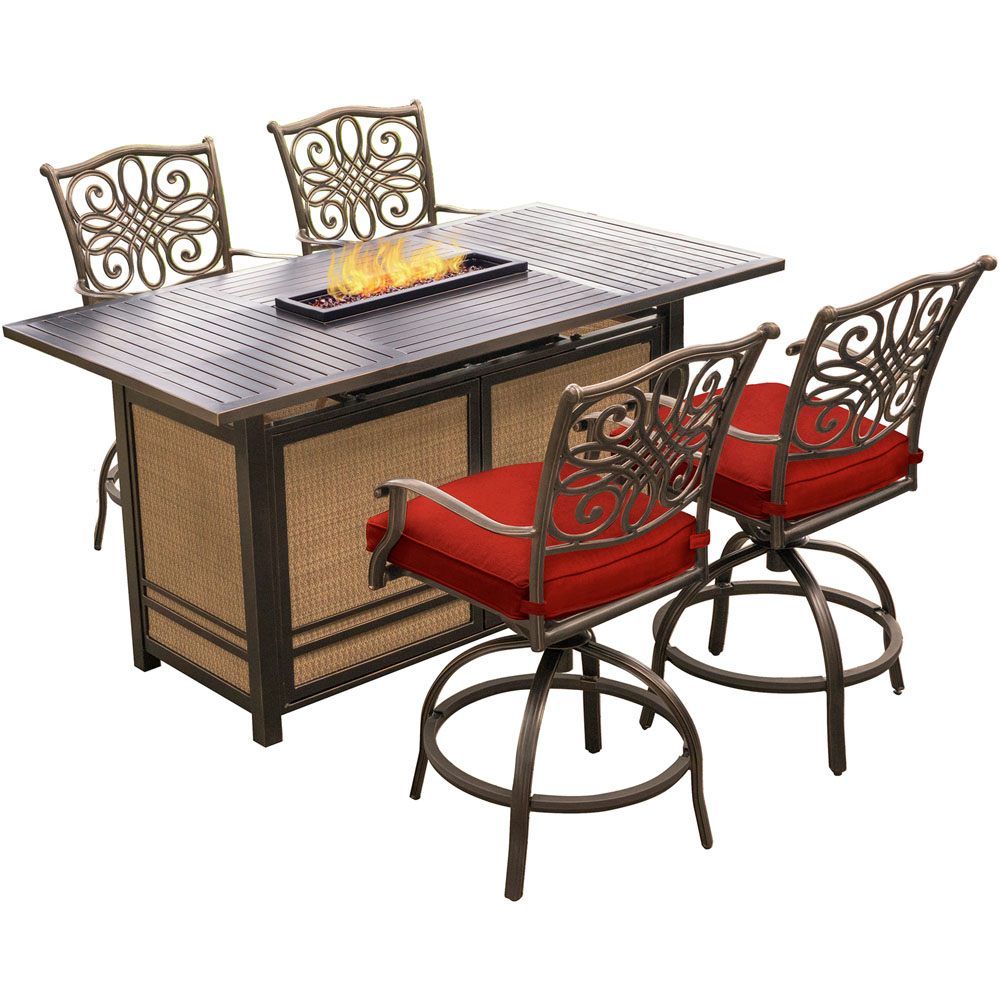Traditions5pc Fire Pit High Dining: 4 Counter Swvl Rkrs, 1 Fire Pit Tabl