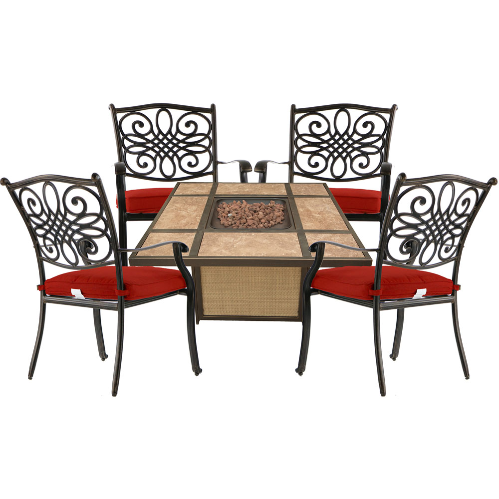 Traditions5pc Fire Pit: 4 Dining Chairs and Tile Top Fire Pit