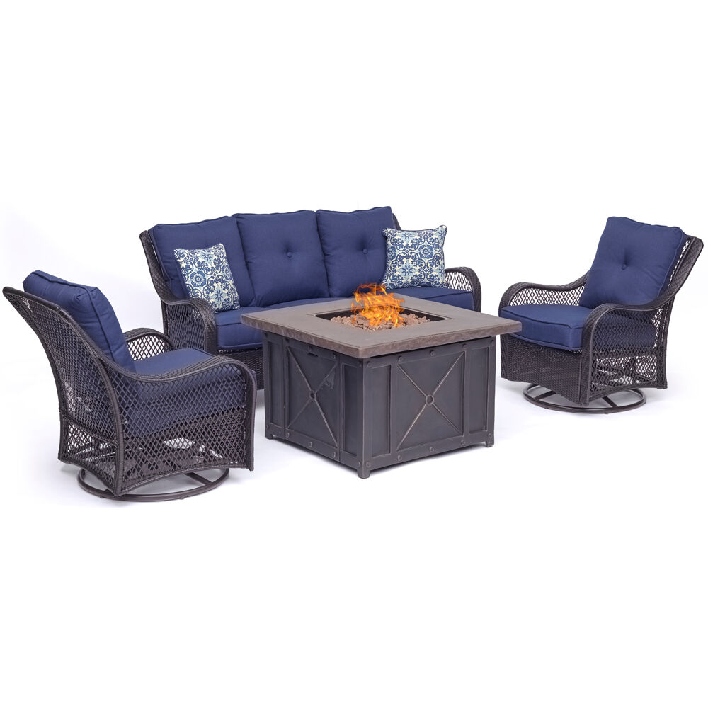 Orleans4pc Fire Pit: Sofa, 2 Swivel Gliders, and Durastone Fire Pit