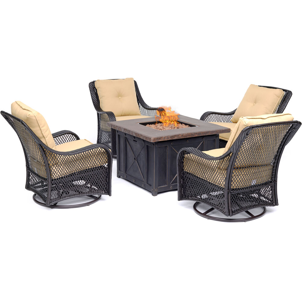 Orleans5pc Fire Pit: 4 Swivel Gliders and Durastone Fire Pit