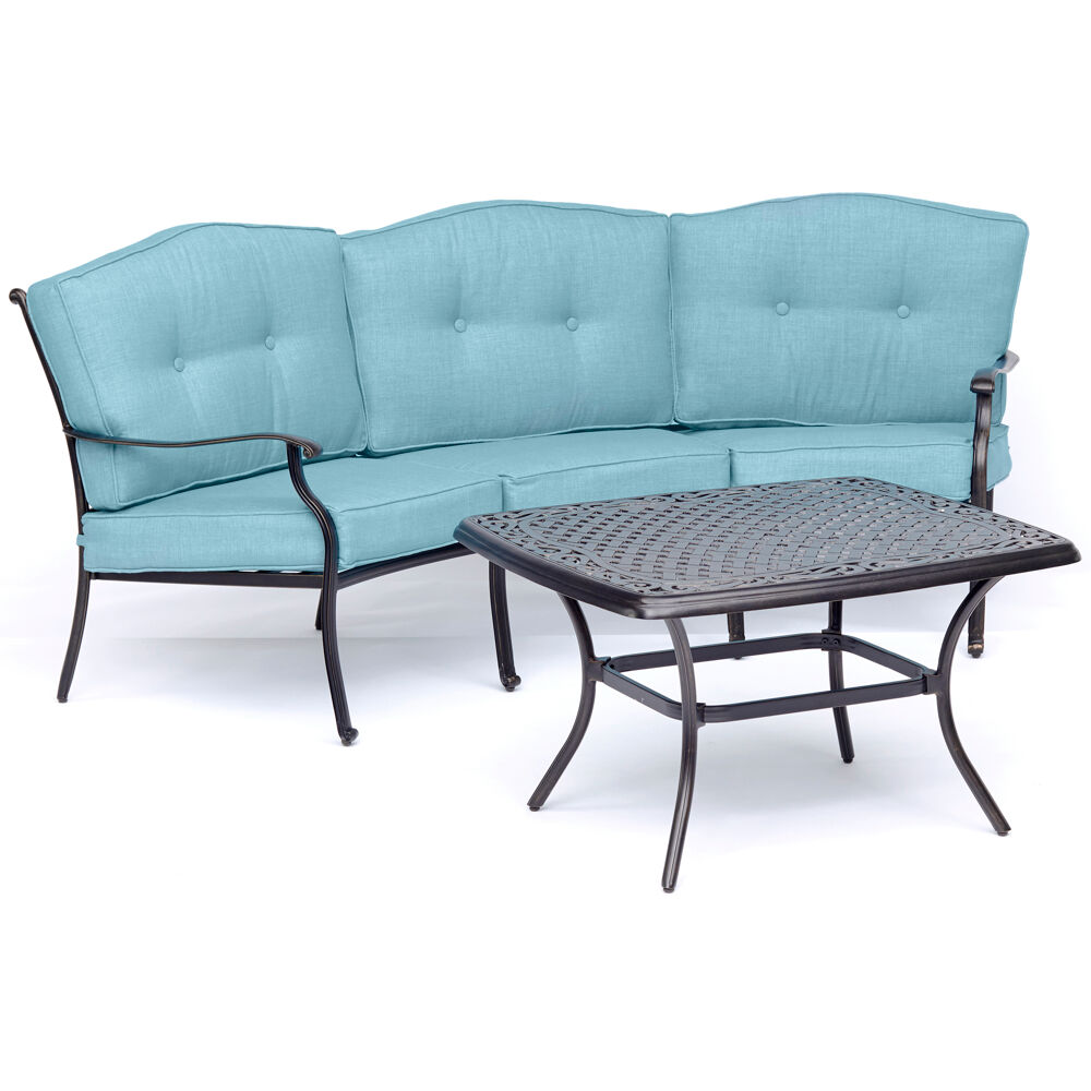 Traditions2pc Set: Cresent Sofa and Cast Top Coffee Table