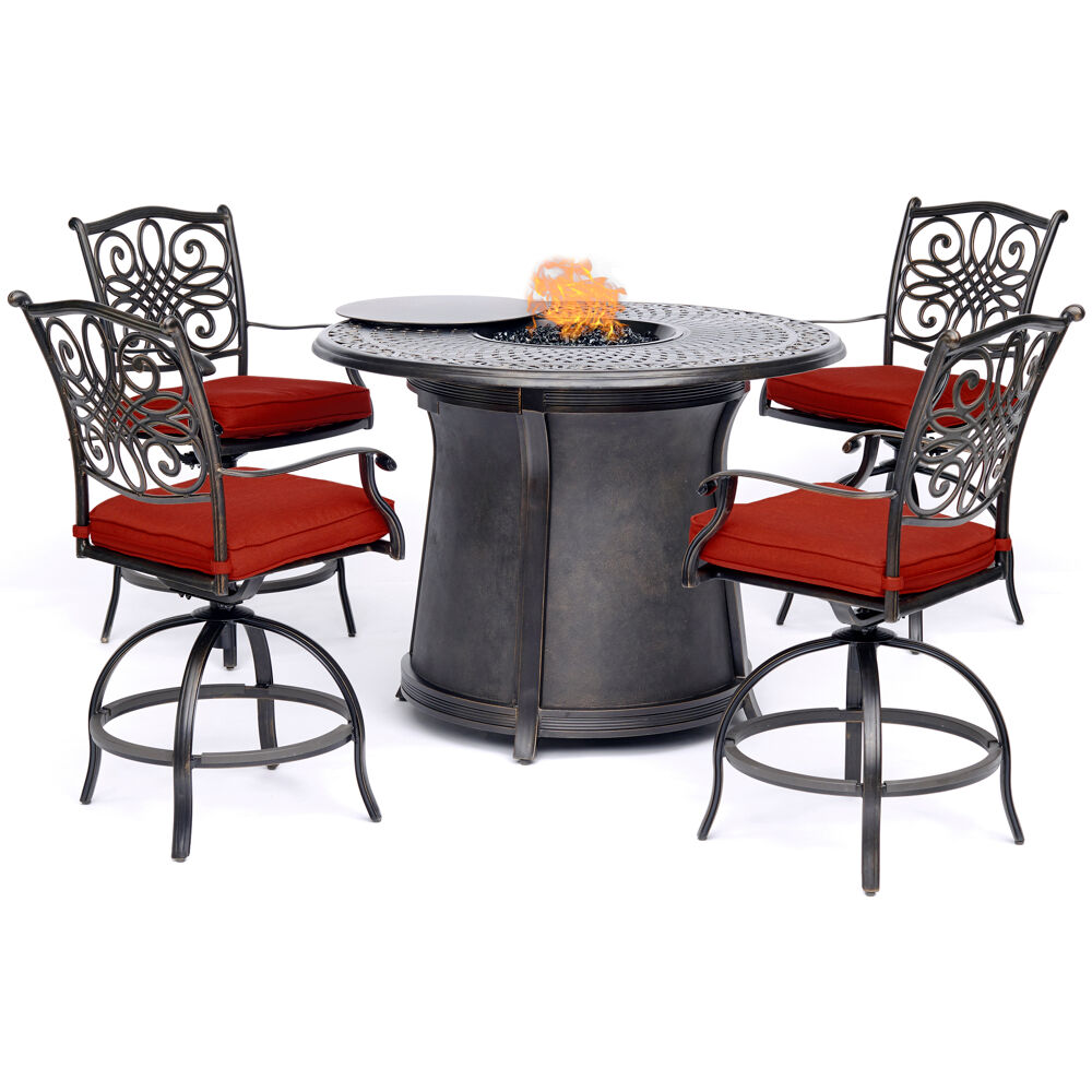 "5pc High Fire Pit Set: 4 Swivel Chairs, 48"" Round Cast Top Fire Pit Tbl"