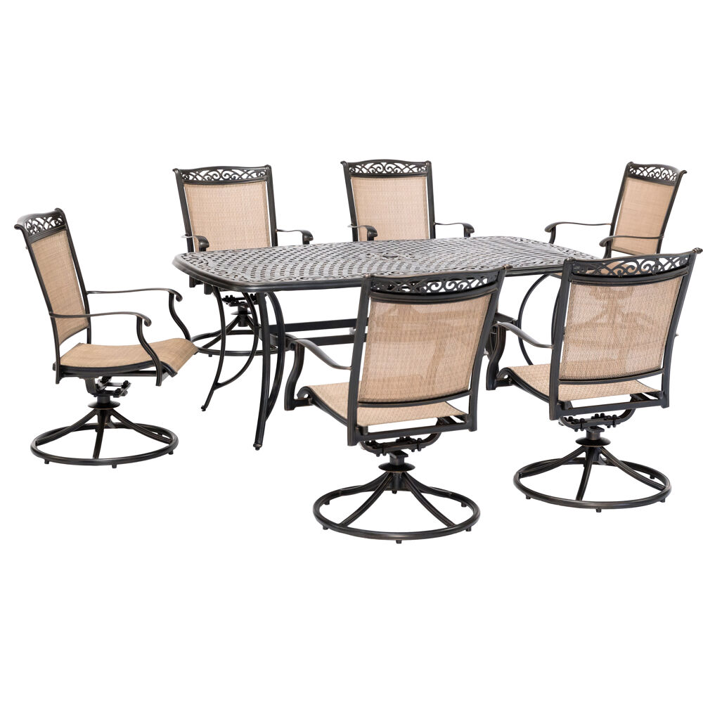 "Fontana7pc: 6 Sling Swivel Rockers and 38""x72"" Cast Table"