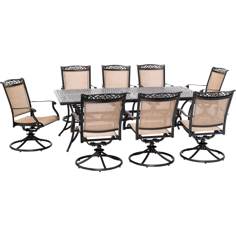 "Fontana9pc: 8 Sling Swivel Rockers and 42""x84"" Cast Table"