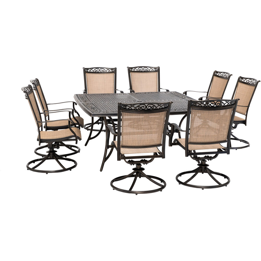 "Fontana9pc: 8 Sling Swivel Rockers and 60"" Square Cast Table"