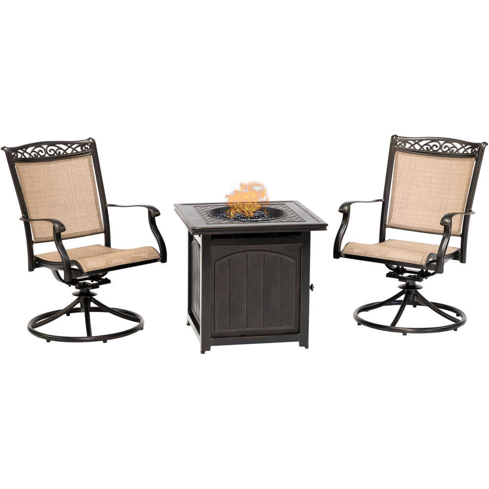 "Fontana3pc: 2 Sling Swivel Rockers and 26"" Square Fire Pit"