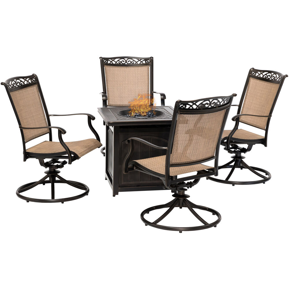 "Fontana5pc: 4 Sling Swivel Rockers and 26"" Square Fire Pit"