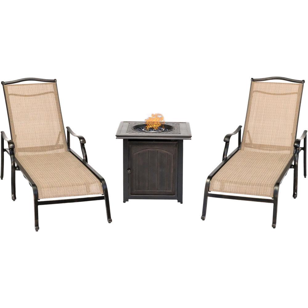 "Monaco3pc: 2 Chaise Lounges and 26"" Square Fire Pit"