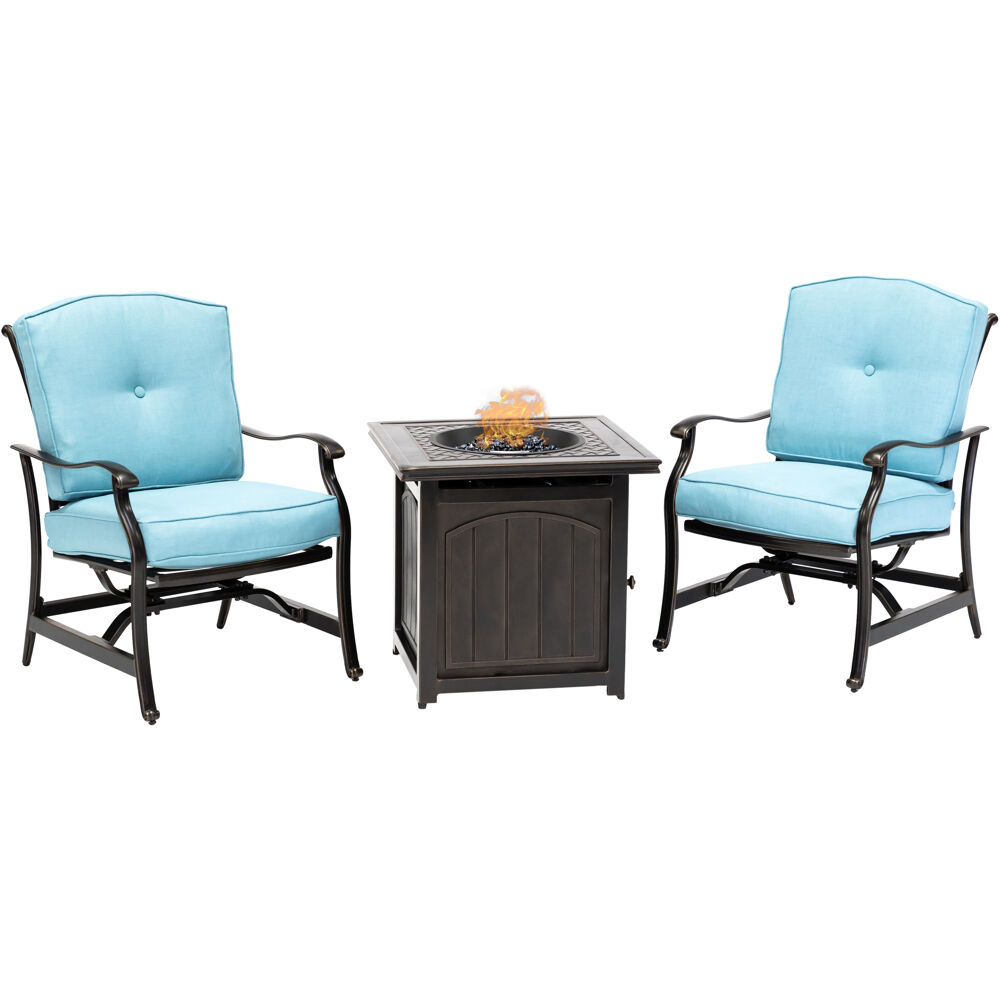 "Traditions3pc: 2 Deep Seating Rkrs and 26"" Square Fire Pit"