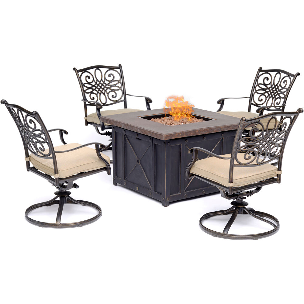 Traditions5pc Fire Pit: 4 Swivel Rockers and Durastone Fire Pit