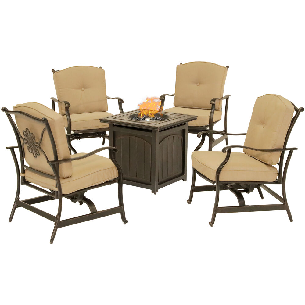 "Traditions5pc: 4 Deep Seating Rkrs and 26"" Square Fire Pit"