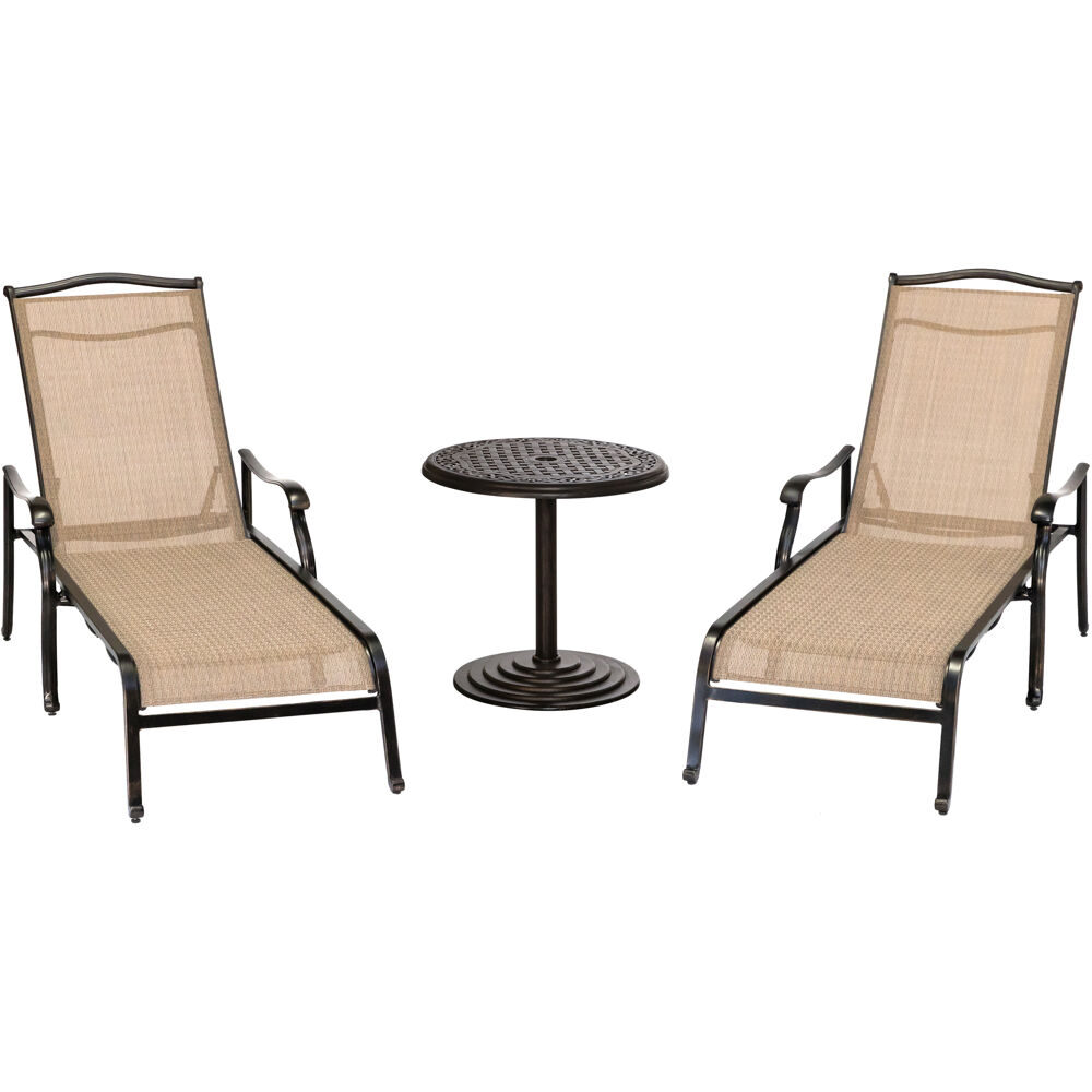 "Monaco3pc: 2 Chaise Lounges and 25"" Round Cast Umbrella Table"