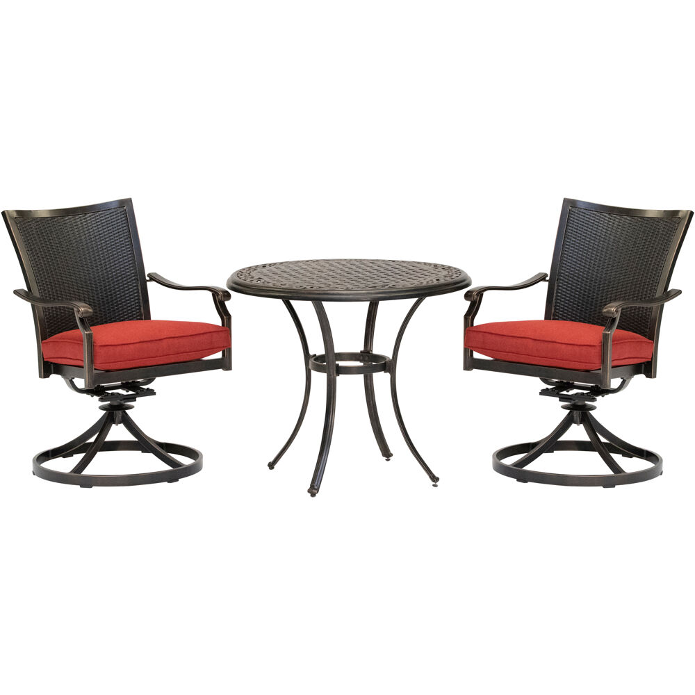 "Traditions3pc: 2 Wicker Back Swivel Rockers, 32"" Round Cast Table"