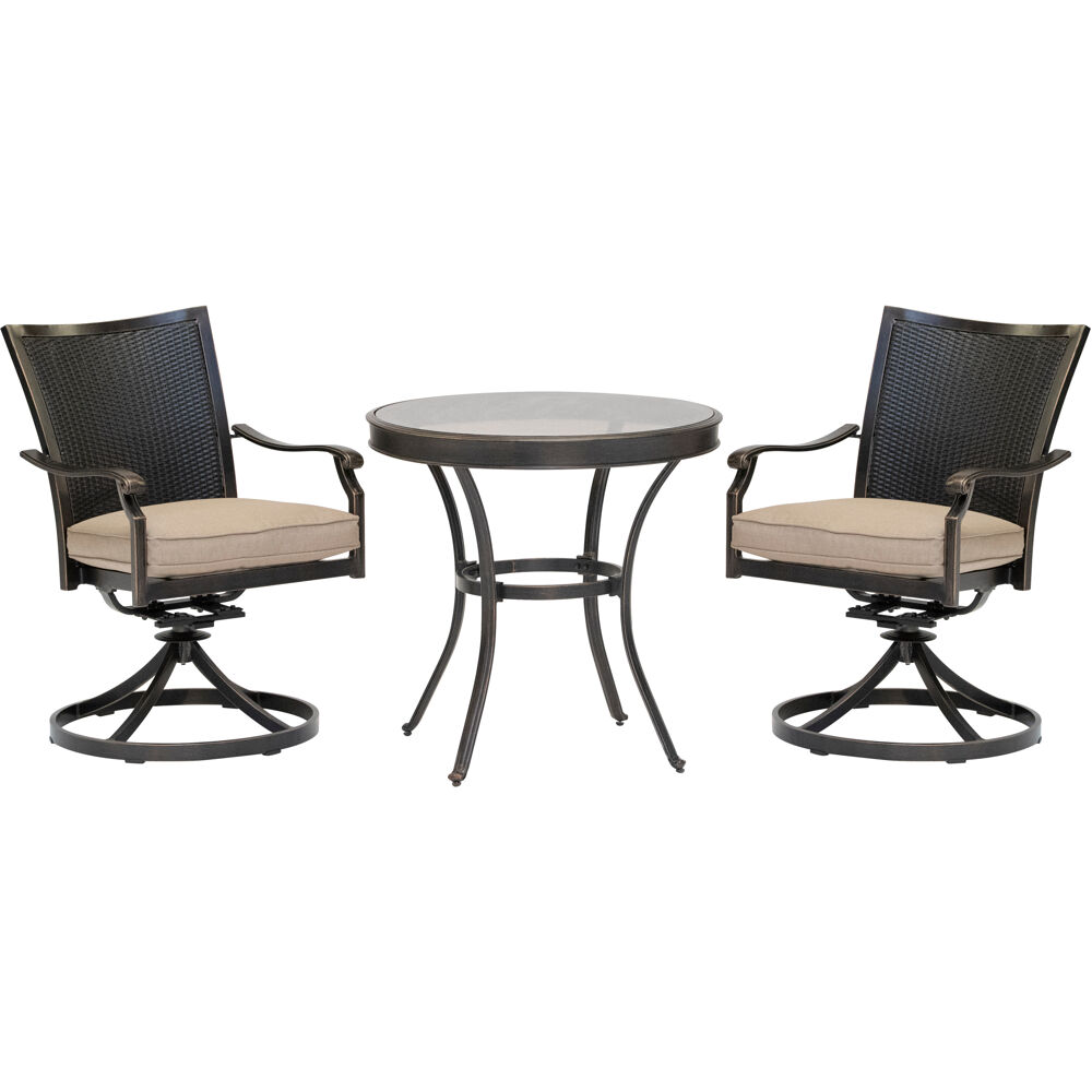 "Traditions3pc: 2 Wicker Back Swivel Rockers, 30"" Round Glass Table"