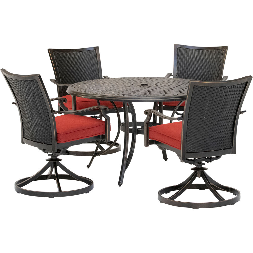 "Traditions5pc: 4 Wicker Back Swivel Rockers, 48"" Round Cast Table"