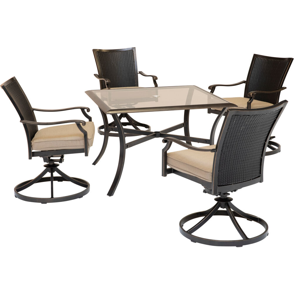"Traditions5pc: 4 Wicker Back Swivel Rockers, 42"" Square Glass Table"