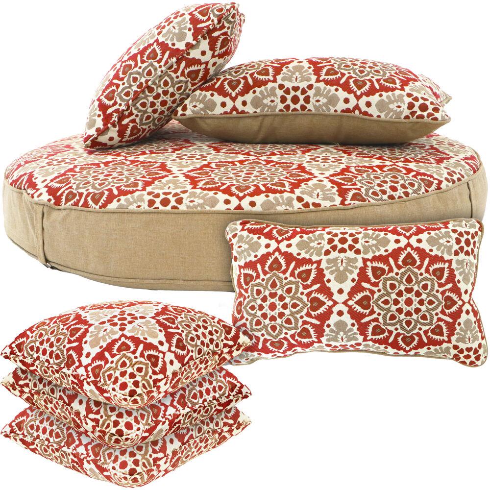 Hanover Medalion 7pc Cushion Set 1 Ottoman, 2 Lumbar and 4 Toss Pillows