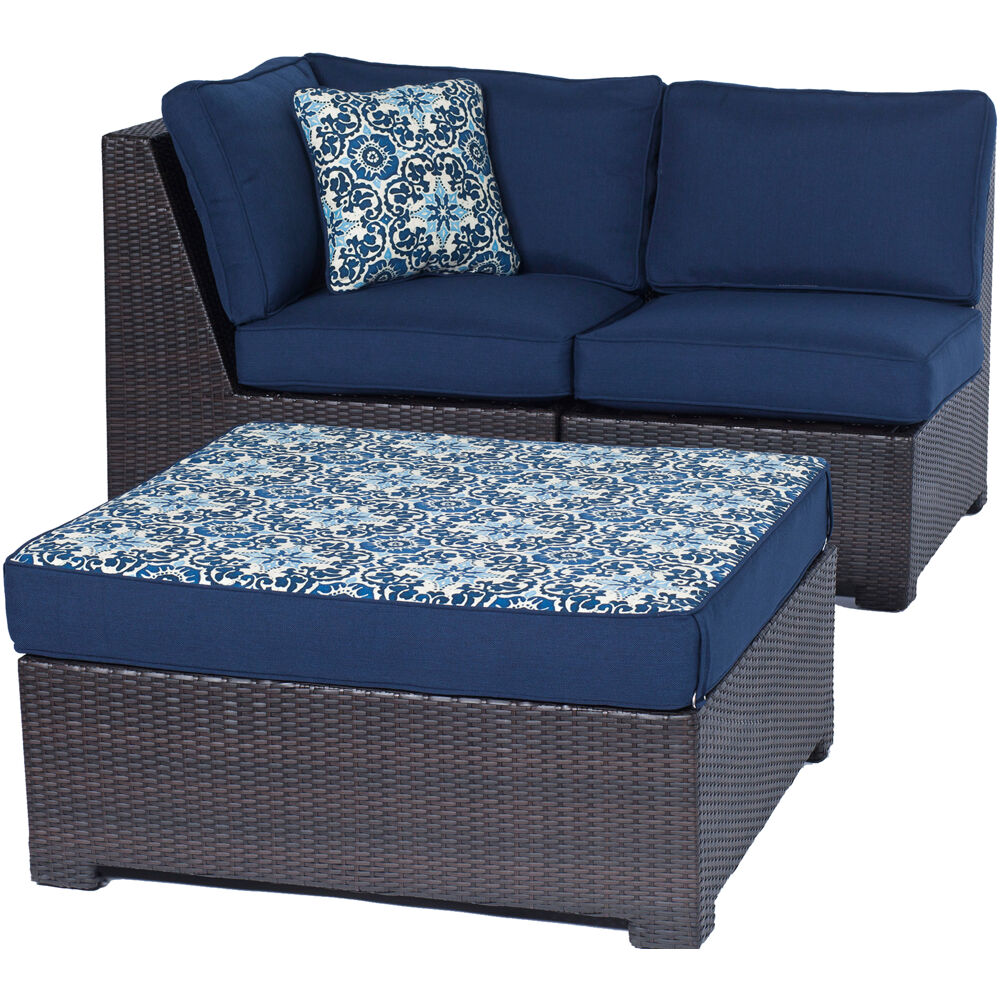 MetroMini3pc Set: Corner Wedge, Armless Chair, and Ottoman with Cushions