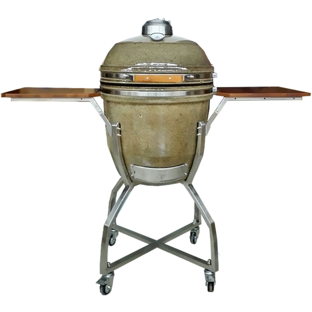 "Hanover 19"" Ceramic Kamado Grill with Cart, Shelves and Access. Package"
