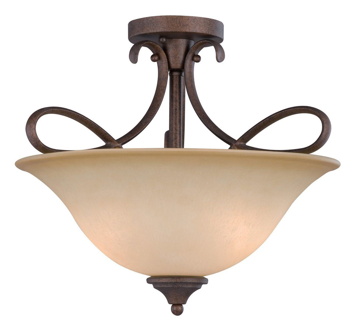 10-0892 3-Light Antique Bronze Semi-Flush Lite