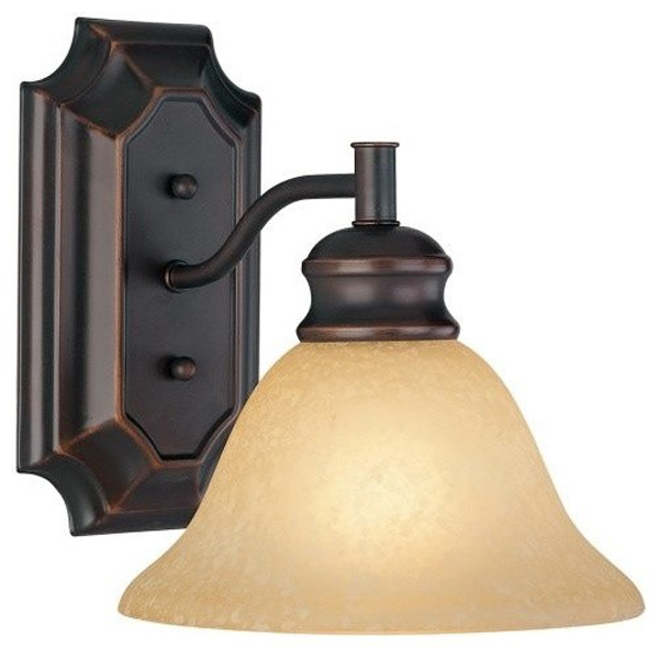 Seville Bath/Wall Lighting Fixture, Classic Bronze, Amber Glass Shade