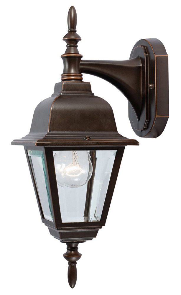 Rust Outdoor Lantern, Classic Bronze, Beveled Glass
