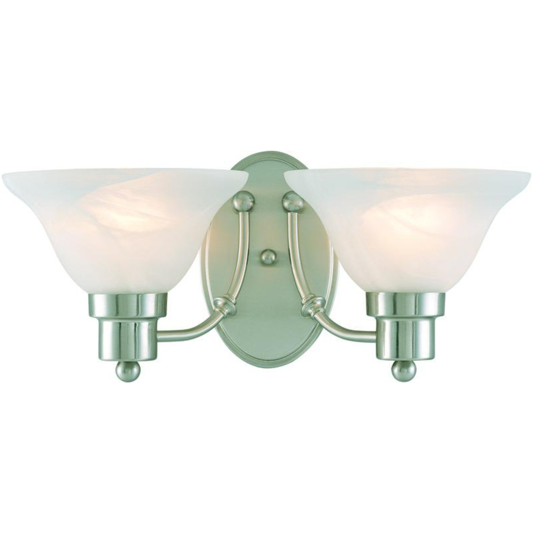 54-4478 Brushed Nickel White 2 Light Bristol