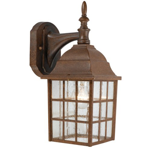 1-Light Down Light Fixture, Artesian Bronze and Seedy Glass