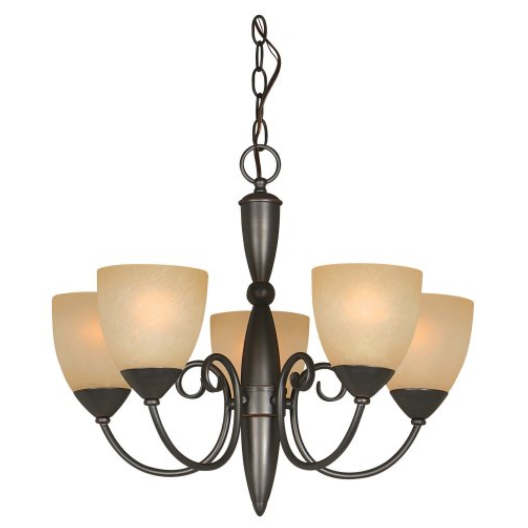 Berkshire 5-Light Chandelier, Classic Bronze With Amber Glass Shade