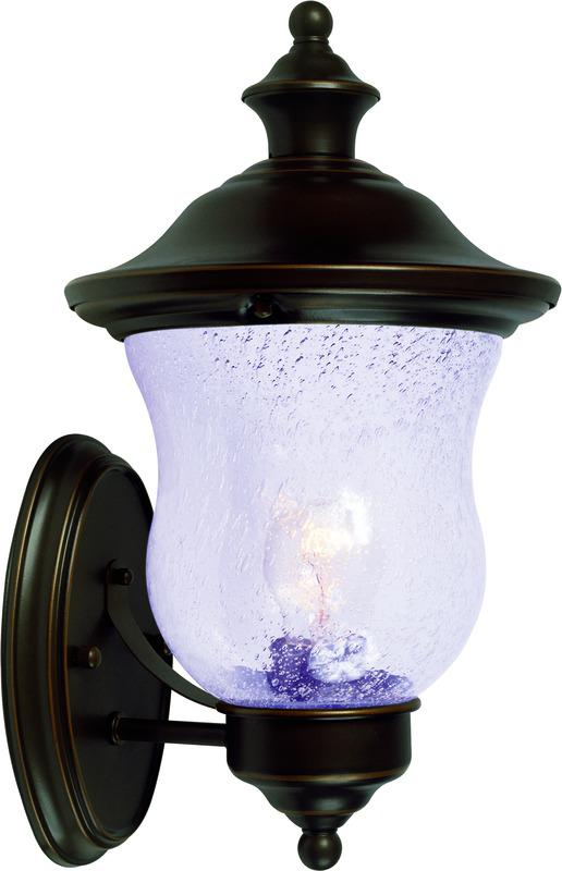 1 Light Outdoor Coach Lantern, Classic Bronze With Seedy Glass