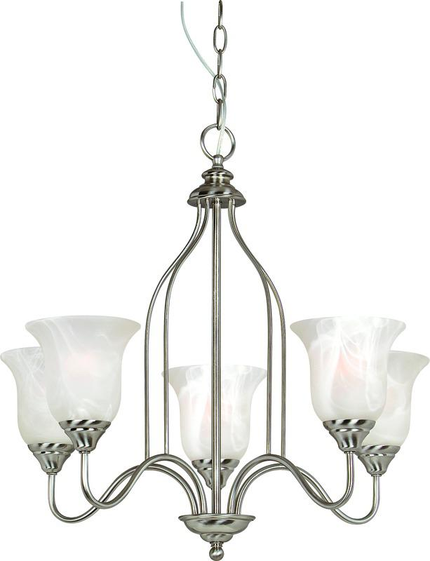 Saturn 5 Lights Chandelier, Satin Nickel, Alabaster Glass Shade