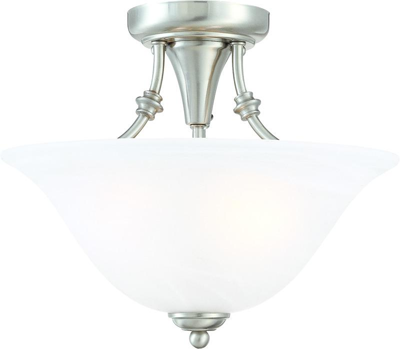 Bristol 2 Lights Semi Flush Mount Ceiling Fixture, Satin Nickel with Alabaster Glass