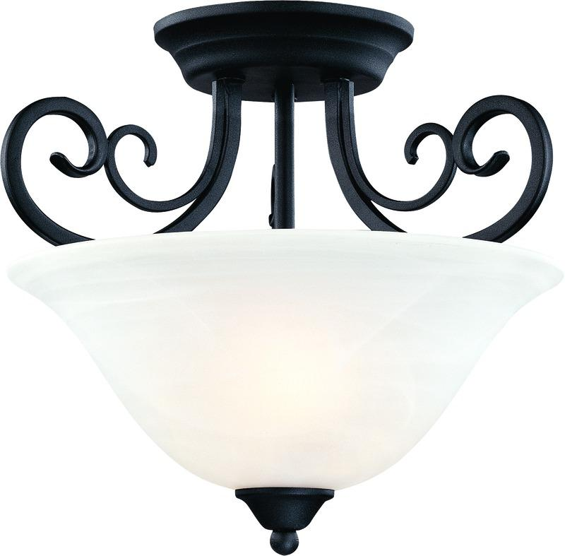 Tuscany 2 Lights Semi-Flush Ceiling Lighting Fixture, Textured Black, Alabaster Glass Shade