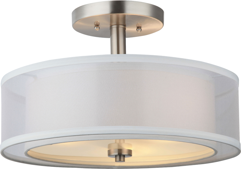 20-7812 SATIN NICKEL 3 LIGHT ROUND SEMI-FLUSH