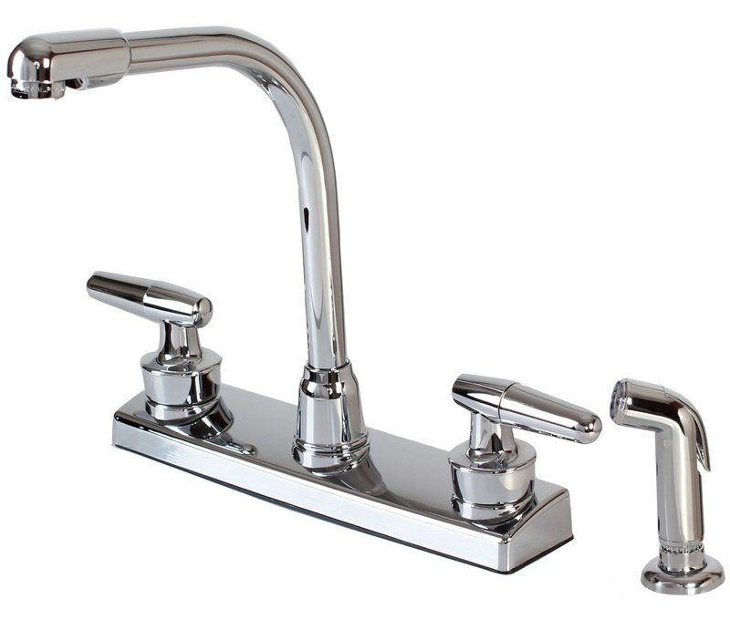12-1927 2-Handle Hi-Rise Kitchen Faucet with Spray, Chrome